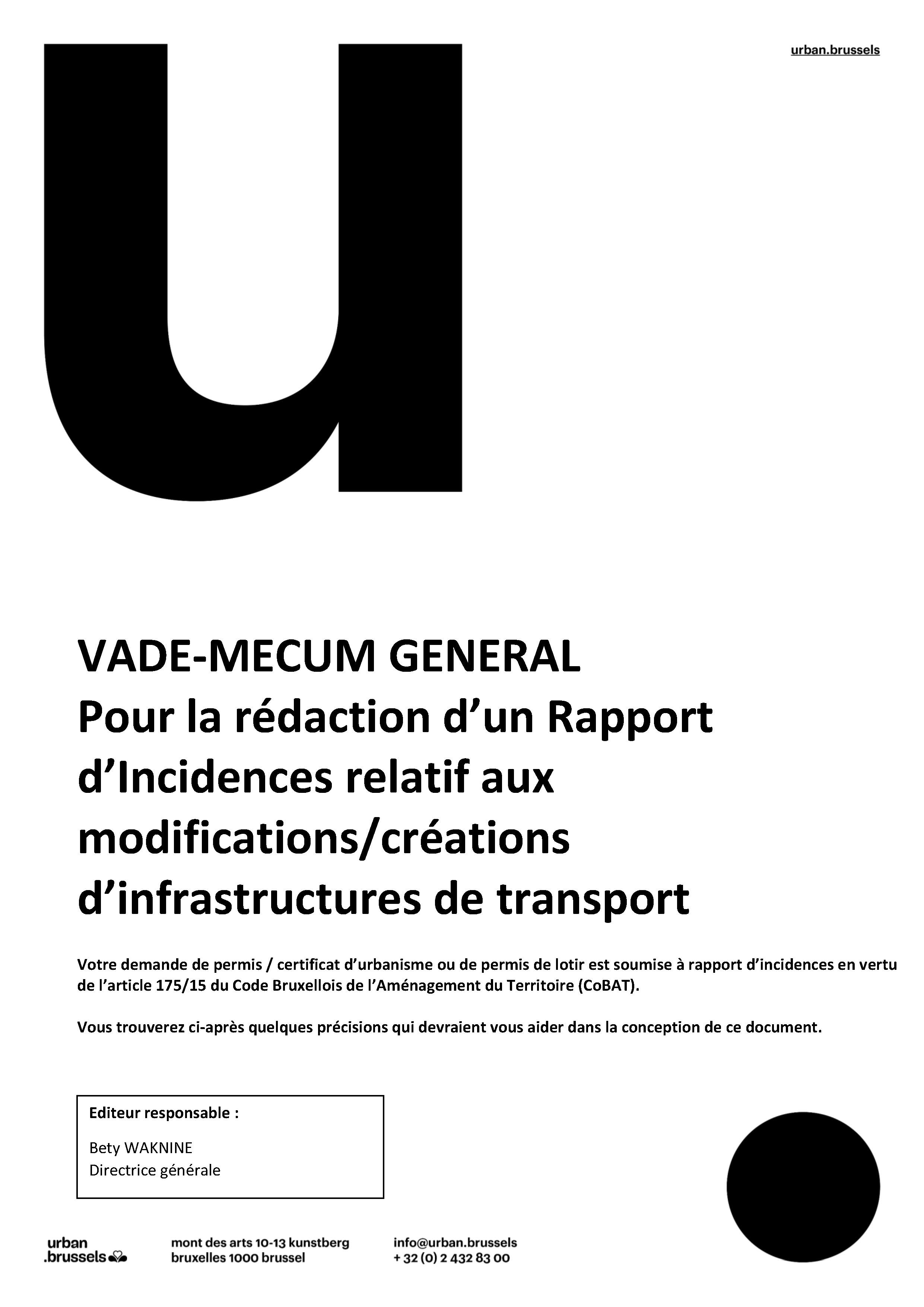 Vade-mecum pour la rédaction d'un rapport d'incidences relatif aux modifications/créations d'infrastructures de transport